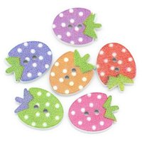 Wholesale Knit Strawberry - Kimter Strawberry Pattern Sewing Wooden Buttons With 2 Hole 16x12mm For Craft Garment Accessorie Knitting Radom Mixed Pack Of 100pcs I636L