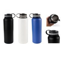 Wholesale Flat Steel Water - Hydro Sports Mugs Water Bottles 32oz 304 Stainless Steel Insulation Cup With Flat Cap without Any Logo