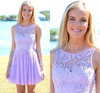 Wholesale Ivory Junior Brides Dress - Vestido madrinhas 2017 Lavender Lace Junior Bridesmaid Dress Short Wedding Party Gowns A-line Cheap Bride Maid of Honor Dress