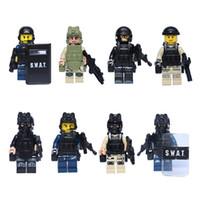 Wholesale Diy Blocks Police - 2017 8pcs lot Police Station Story Anti-terrorism Building Blocks Diy Educational Gift As Birthday Toys For Children