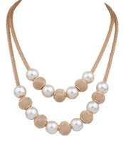 Wholesale Double Rows Pearl Necklace - Classic Fashion Pearl Necklaces For Women Double Row Mesh Chain Necklaces Lady Elegant Style Beads Necklaces Gold Plating Short Necklace
