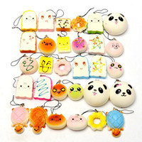Wholesale Donut Cake - 20Pcs lot Squeeze Squishy Jumbo Panda Bun Slow Rising Squishy Cute Soft Mini Bread Cake ice Cream Donut Phone Straps Kids Toy