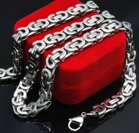 Wholesale byzantine steel chain - Wholesale- Mens Stainless Steel Byzantine Chains Necklaces Jewellery Hip Hop,Rock,Gift, 2015 accessories Wholesale