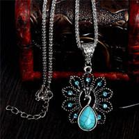 collar de cristal austriaco elegante colgante al por mayor-Elegante azul turquesa collares de pavo real piedra natural austriaco cristal colgante collar vintage bijoux femme