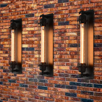 lámparas de bar rústico al por mayor-Lámpara de pared LED industrial larga Lámpara de pared retro Lámpara de pared rústica Luces vintage para Cafe Bar
