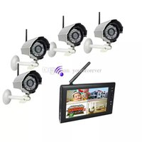 Wholesale 4ch Dvr Wireless Camera - 7 inch TFT Digital 2.4G Wireless Cameras Audio Video Baby Monitors 4CH Quad DVR Security System With IR Night Light Cameras F1620D