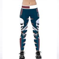 Wholesale red yoga pants for women online - Punk Skeleton Print Leggings for Women Skinny Yoga Pants Active Fitness Slim Knitted Polyester High Waist Casual Sports Running Long Pants