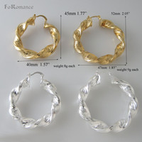 Wholesale Earring Sizes Mm - Wholesale- MIN ORDER 10$ CAN MIX DESIGN GREEK KEY YELLOW GOLD SILVER COLOR GP ROUND BIG HOOP TWO SIZES DIAMETER 40 MM AND 47 MM EARRING