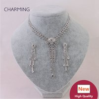 ingrosso gioielli imitazione nuziale-Collane per donne e orecchini 2 pezzi Set di gioielli da sposa Imitazioni di gioielli stile charms Nuovi gioielli di moda Vendita all'ingrosso di venditori online