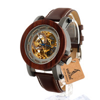 Wholesale Bird Mechanical - Wholesale- BOBO BIRD K12 Automatic Mechanical Watch Classic Style Luxury Men Analog Wristwatch Bamboo Wooden With Steel in Gift Wooden Box