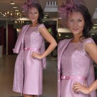 Wholesale Evening Dress Jacket Taffeta - 2017 Blush Pink Knee Length Mother of the Bride Dress Plus Size with Jacket Formal Mother Prom Evening Dress