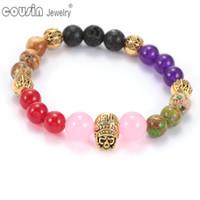 Wholesale Colorful Skull Bracelets - SZ0423 New Arrivals Fashion Men Bracelet Jewelry High Quality Lava Natural Stone Skull Colorful Bead Bracelets for Women
