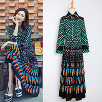 Wholesale pleated sleeve blouse - 2017 Top Fashion Runway Bohemian Outfit Blouse Pleated Skirt Women Vintage Printed 2 Pieces Set Celebrity Twin Set Plus Size 4XL Outfit