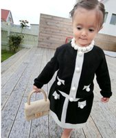 Wholesale Toddler Cardigan Wholesale - Infant baby Girls Knit Sets Kids Girls Pearl Cardigan with knitted Skirts 2017 Babies Autumn Luxury Outfits toddler clothing