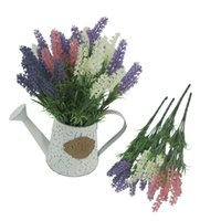Artificial Flocked Lavender Bouquet com 4 arranjos de flores de cores Bridal Home DIY Table Flowers Garden Office Wedding Decor 125 -1078