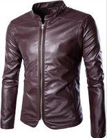 roupas de tamanho alto mais tamanho venda por atacado-Roupas masculinas novas Plus size roupas de couro High end magro casaco de couro da motocicleta, tendência coreana