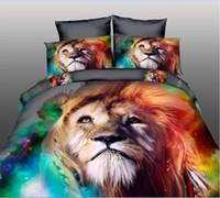 ingrosso set di fogli di stampa tigre-Trasporto libero del DHL Hot Cool Lion Tiger-Cats cigno HD 3D stampa Set biancheria da letto Queen Size 4pcs Lenzuola