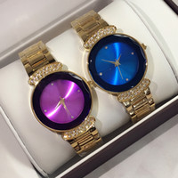 blue diamond bracelets - Fashion lady watches with diamond gold purple blue luxury women watch golden Stainless Steel Bracelet Wristwatches Brand female clock