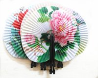 Wholesale hand fans for women resale online - Party Pc Summer Style Art Chinese Folding Hand Paper Fans For Event Party Wedding Home Decoration Crafts Women Dancing Fan
