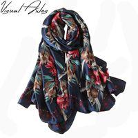 Wholesale Fashion Scaves - [Visual Axles] 2017 Spring Fashion Women Luxury Brand Silk Scarf Digital Print Designer Floral Silk Scaves and Shawls SFN110