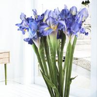ingrosso fiore bianco iride-5pcs bianco fiore artificiale di fiori artificiali del fiore artificiale dell'esposizione dell'iride per la decorazione di cerimonia nuziale della casa