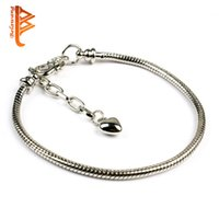 Wholesale Tungsten Infinity - BELAWANG Fashion Link Bracelets European Style Silver Plated Infinity Heart Snake Chain Fit Bracelets & Bangles Accessories Jewelry