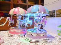 Wholesale Kids Carousel - Creative music box romance Merry-Go-Round Carousel Music Box with light Kids Children Girls Christmas Birthday Gift Toy