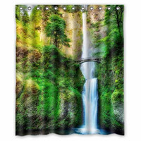 "Wholesale Bridge Waterfall - USA Waterfalls Bridges Multnomah Falls Oregon HDR Nature Custom Fashion Waterproof Fabric Bath Shower Curtain 60"" x 72"""