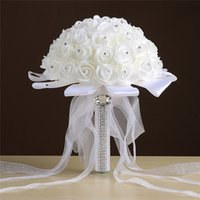 Wholesale Bridal White Flower Bouquet Holding - 2017 Ivory Wedding Bouquet Bridal Decorations with Ribbon Organza Bow Crystal Foam Pearls White Bride Hand Holding Flowers