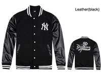 Wholesale Men Sweatshirt Leather Sleeves - Free shipping NY yankees leather jackets for men hip hop baseball sweatshirts mens coats fleece male rock hiphop clothes
