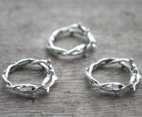 ingrosso rami di ramoscelli-10pcs - Charms corona di spine, anello Thorn, argento antico ramoscello, pendenti anello Branch, Charms, accessorio regalo 23 mm
