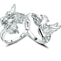 Wholesale Dragon Phoenix Rings - Lover's Men's dragon Women's Phoenix ring 100% Genuine 925 Ring pure silver Jewelry personality fine jewelry