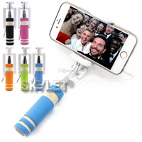 Wholesale Mini Wire Cable - Monopod Wired Selfie Stick Super Mini Cable Take Pole Foldable all-in-one Monopod Self Timer Kit With Groove For Iphone 6 In Retail Box