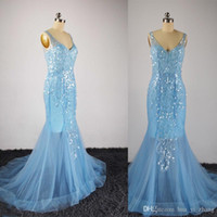 Wholesale Transparent Backless Sequin Dress - Real images Evening Dresses Sky Light Blue Sheer Crew Beading Sequins Long Transparent Sleeve Mermaid Court Train Evening Gowns