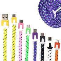 Wholesale Samung S3 - 1M 3FT 2M 6FT 3M 10FT Flat Braided Cable Fabric Woven Sync Data Charger Cable Cord For Samung Galaxy S3 S4 S5 i9500 i9600 Htc Note 2
