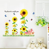 Wholesale Wall Sunflower Decals - 9001-y Sunflower Flowers Wall Stickers Florals decals Home Decor
