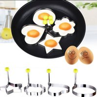 Wholesale Stainless Steel Egg Ring - Fried Egg Mold Stainless Steel Cute Shaped Pancake Rings Mold Pancake Mould Mold Ring Cooking Fried Egg Shaper Kitchen Tool KKA1370