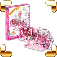 Wholesale Puzzle Games Girls - New DIY Gift LEER Romantic Hut 3D Puzzle Cartoon Model DIY Education Toys Puzzle Paper Game Of Intellgence Nice Toys For Girls