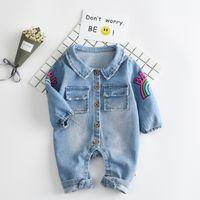 Wholesale Cowboy Costume Jeans - 2017 Soft Denim Baby Romper Graffiti Cat Infant Clothes Newborn Jumpsuit Babies Boy Girls Costume Cowboy Fashion Jeans Children