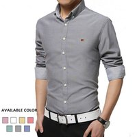 Wholesale Wholesale Dress Shirt Fabric - Wholesale- HORIS Brand-Clothing Long Sleeve Men's Shirts Oxford Fabric Non-ironing Male Social Shirt Slim Fit Mens Dress Shirts H292