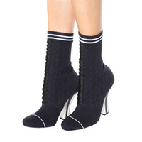 Wholesale Knitted Calf Boots - Hot Sale Mixed Color Red Blue Straps Women Stretch Knit Boots Round Toe Ladies High Heel Boots Female Sock Boots 2017 Fashion