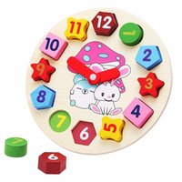 Wholesale Baby Girls Clock - Wooden blocks toys Digital Geometry Clock Children's Educational toy for baby boy and girl gift