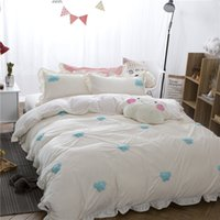Wholesale Thick Comforters - Korea Style White Color Girls Cute Bedding set Queen size Clouds Embroidery Thick Fleece Bed set Duvet cover Bedsheet For Winter