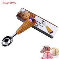 смоляное мороженое оптовых-DIY смолы 1 шт ручка из нержавеющей стали мороженое ложка ложка мороженого ложка мороженого стеки фрукты ложка