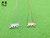 Wholesale Thin Crystal Necklace - 10PCS- N006 Tiny Gold Silver Polar Bear Necklaces Thin Bruin Necklace White Sea Bear Necklace USA California Cali Bear Necklaces