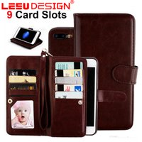 Wholesale Iphone Leather Pouch Credit - 9 card slots Wallet Case for iphone X PU leather cases with photo frame credit card pocket with stand for iphone 6 7 8 plus S8 plus note 8