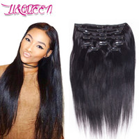Wholesale human hair extensions queens resale online - Brazilian Virgin Human Hair Clip In Hair Extensions Queen Straight Weaves Unprocessed Inches Natural Black