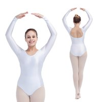 Wholesale Dance Leotard Sleeves - Kids Ballet Dancing Leotards Shiny Nylon Lycra Long Sleeve with Drawstring Front Girls Practice Dancewear Full Sizes 21 Colors Available