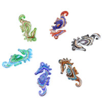 Wholesale Glass Pendants For Necklaces Wholesale - Sea Horse Glass arts Lampwork Glass Pendants Handmade Glaze Big Pendants For Necklace 12pcs pack MC0009