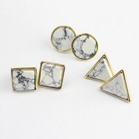 2017 Tridimensional Geométrico Stud Gold Color Quadrado Triangle Round Fashion Ear Stud Branco Preto Faux Stone Stud Studs For Women